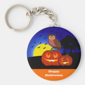 Pumpkins and owl with landscape basic round button keychain