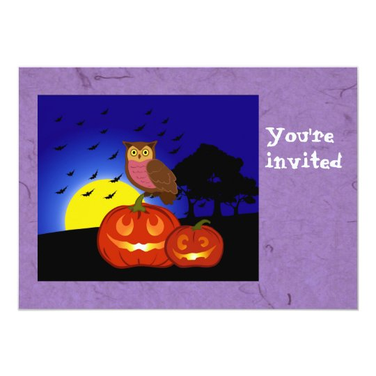Pumpkins and owl with landscape Halloween party in Card