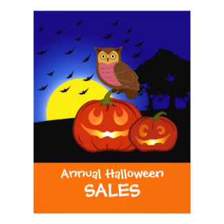 Pumpkins and owl with landscape personalized flyer