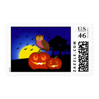 Pumpkins and owl with landscape stamp