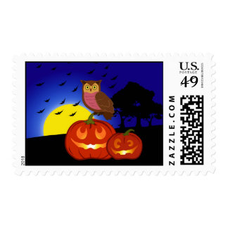 Pumpkins and owl with landscape postage