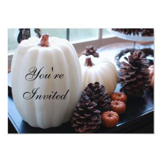 Pumpkins and Pinecones Autumn Thanksgiving 4.5x6.25 Paper Invitation Card