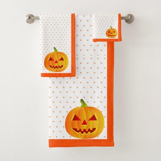 Pumpkins and Polka Dots Bathroom Towel Set