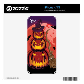 Pumpkins and Red Moon Skin For iPhone 4S