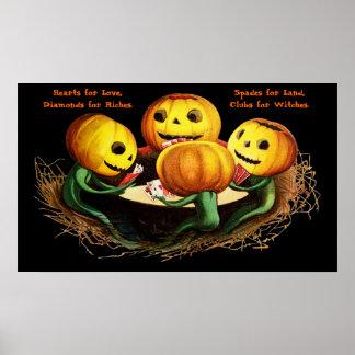 Pumpkins at Cards Halloween Poster