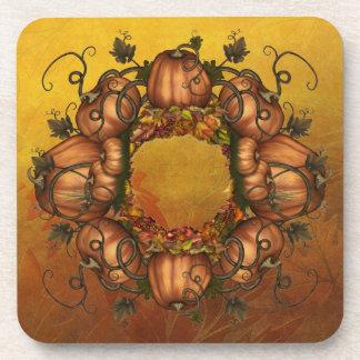 Pumpkins & Autumn Leaves Beverage Coaster