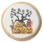 Pumpkins, Birds and Pugs Round Premium Shortbread Cookie