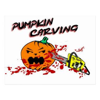 Pumpkins Carving Postcard