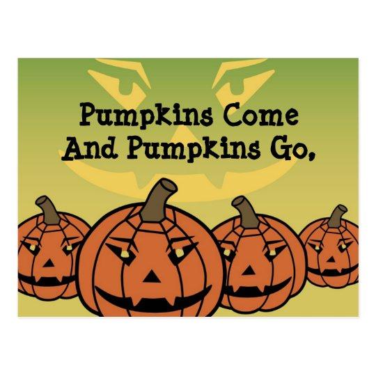 Pumpkins Come Halloween Greeting Postcard