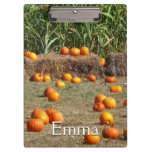 Pumpkins, Corn and Hay Autumn Harvest Photography Clipboard