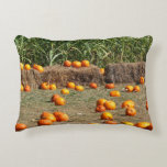 Pumpkins, Corn and Hay Autumn Harvest Photography Decorative Pillow