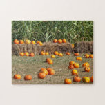 Pumpkins, Corn and Hay Autumn Harvest Photography Jigsaw Puzzle