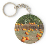 Pumpkins, Corn and Hay Autumn Harvest Photography Keychain