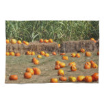 Pumpkins, Corn and Hay Autumn Harvest Photography Kitchen Towel