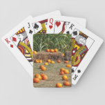 Pumpkins, Corn and Hay Autumn Harvest Photography Poker Cards