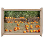 Pumpkins, Corn and Hay Autumn Harvest Photography Serving Tray