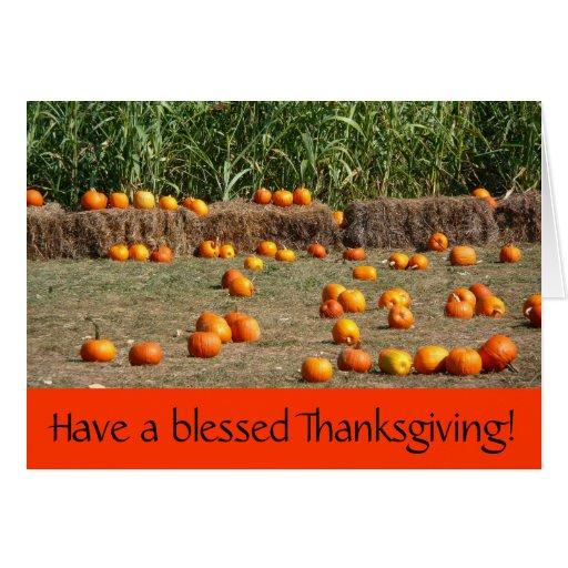 Pumpkins, Corn and Hay Thanksgiving Card