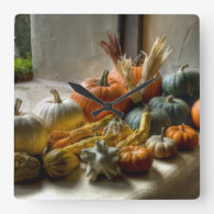 Pumpkins Decor Square Wallclock