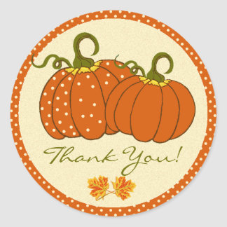 Pumpkins Fall Autumn Thank You Classic Round Sticker