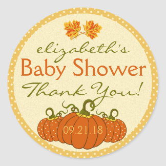 Pumpkins Fall Baby Shower Thank You Classic Round Sticker