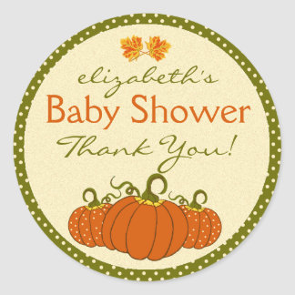 Pumpkins- Fall Baby Shower Thank You Round Sticker