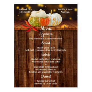 Pumpkins Fall Wedding or Thanksgiving Menu
