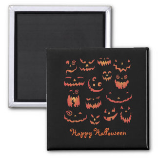Pumpkins Glowing 2 Inch Square Magnet
