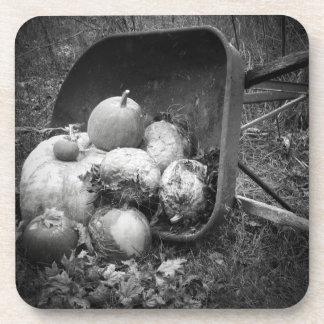 Pumpkins in a Wheelbarrow Old Fashion Beverage Coasters