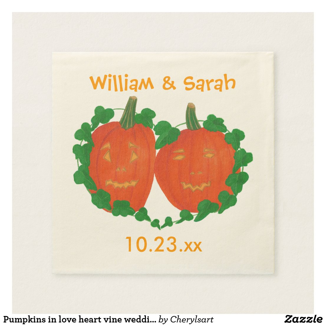 Pumpkins in love heart vine wedding napkins