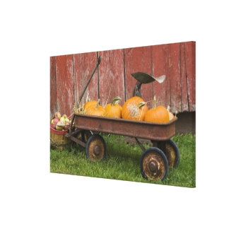 Pumpkins in old wagon canvas print