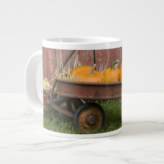 Pumpkins in old wagon giant coffee mug