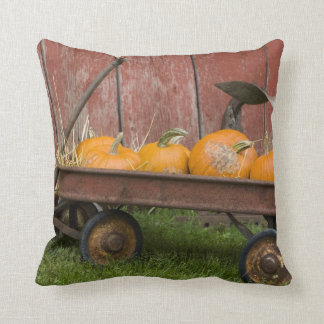 Pumpkins in old wagon throw pillow