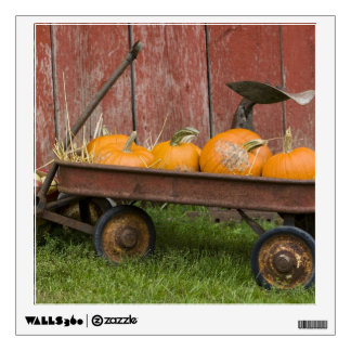 Pumpkins in old wagon wall decal