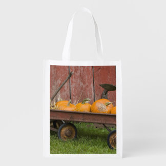 Pumpkins in old wagon reusable grocery bags