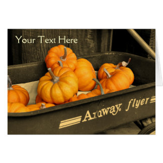 Pumpkins In Wagon Partial Color Nature Photo Card