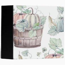 Pumpkins in Wooden Bucket in Soft Watercolors 3 Ring Binder