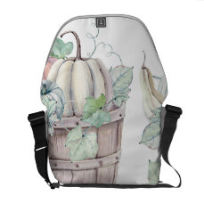 Pumpkins in Wooden Bucket in Soft Watercolors Courier Bag