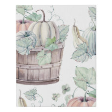 Pumpkins in Wooden Bucket in Soft Watercolors Faux Canvas Print