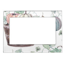 Pumpkins in Wooden Bucket in Soft Watercolors Magnetic Photo Frame