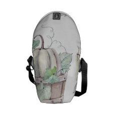 Pumpkins in Wooden Bucket in Soft Watercolors Messenger Bag