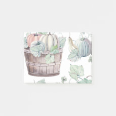 Pumpkins in Wooden Bucket in Soft Watercolors Post-it Notes
