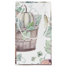 Pumpkins in Wooden Bucket in Soft Watercolors Small Gift Bag