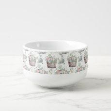 Pumpkins in Wooden Bucket in Soft Watercolors Soup Mug