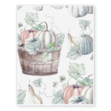 Pumpkins in Wooden Bucket in Soft Watercolors Temporary Tattoos