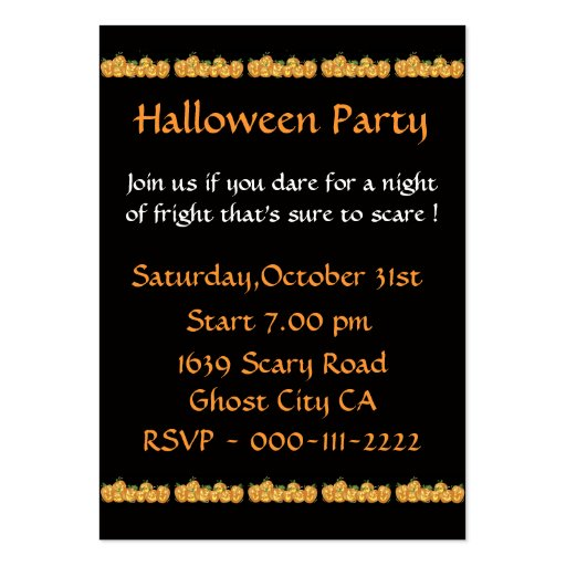 Pumpkins Invitation For Halloween Party Business Card