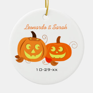 Pumpkins Jack O Lantern Couple Custom Ornament