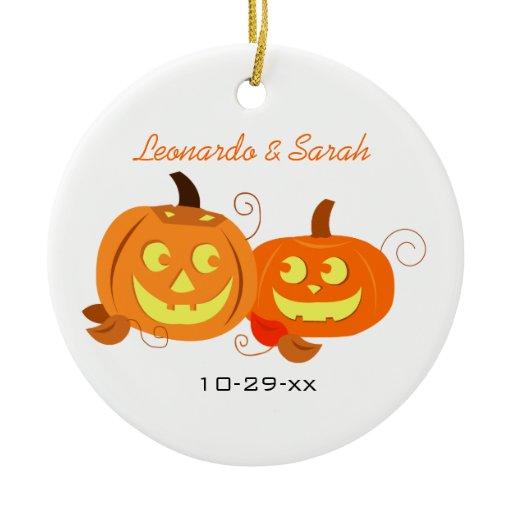 Pumpkins Jack O Lantern Couple Custom Ornament
