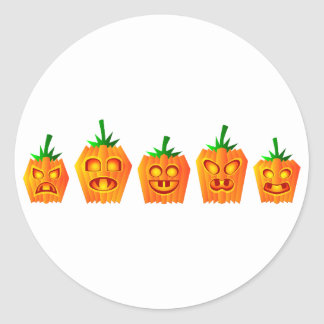 Pumpkins Lined Up Classic Round Sticker