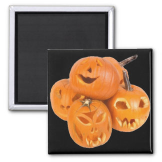 Pumpkins of Halloween - 2 Inch Square Magnet