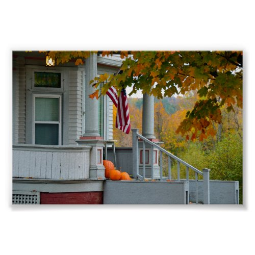 Pumpkins on a Vermont Porch in Autumn. Poster